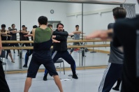 Rolando D'Alesio with the dancers in a rehearsal of Marco Goecke's Le Spectre de la Rose